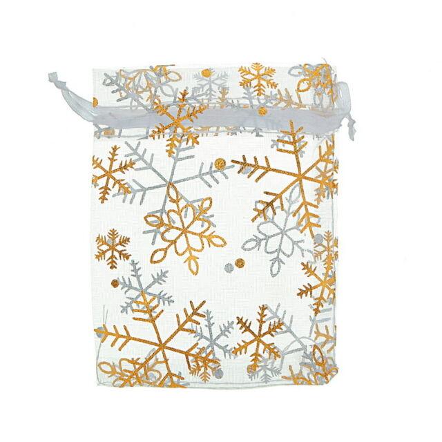 25pcs 9x12cm Premium Gold Snowflake White Organza Wedding Favours Gift Bags