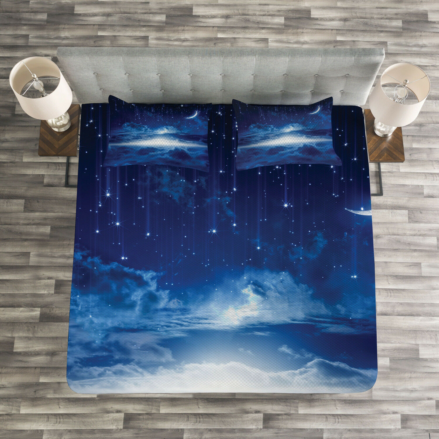 bluee White Quilted Bedspread & Pillow Shams Set, Night Sky Moon Stars Print