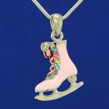 ICE SKATING FIGURE SHOE MADE WITH SWAROVSKI CRYSTAL PINK CHARM NEW PENDANT GIFT