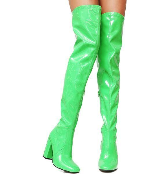 Grande Taille Femme Dessus Genou Haut Bloc Moyen Talons bottes vernies côté code postal