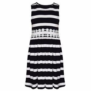 Girls-Kids-New-Ex-Branded-Sleeveless-Stripe-Cotton-Skater-Summer-Dress-5-13-Yrs