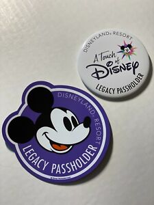 Authentic Disneyland Legacy Passholder AP Car Magnet AND Button - 2021