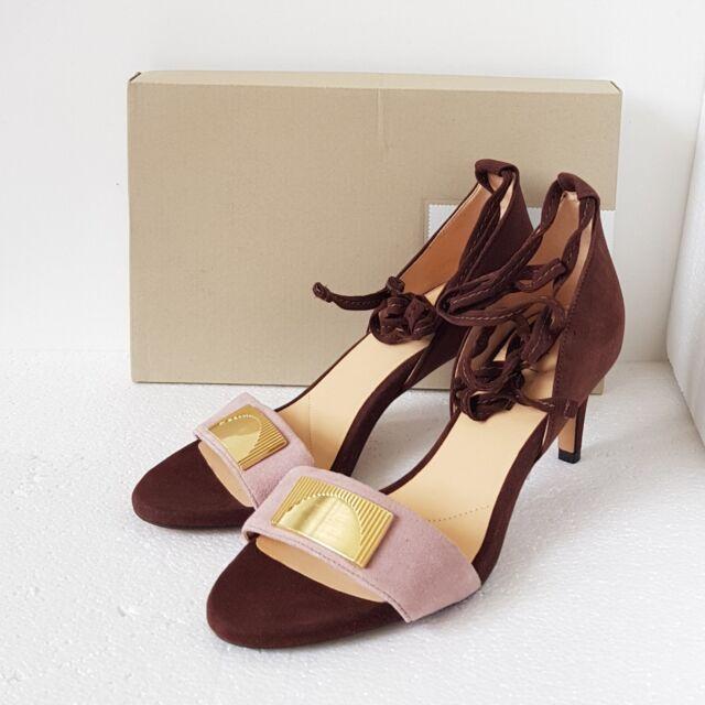 2b7e0b1dbb2 Clarks Ladies Amali Onyx Dark Brown Suede High Heeled Sandals Various Sizes