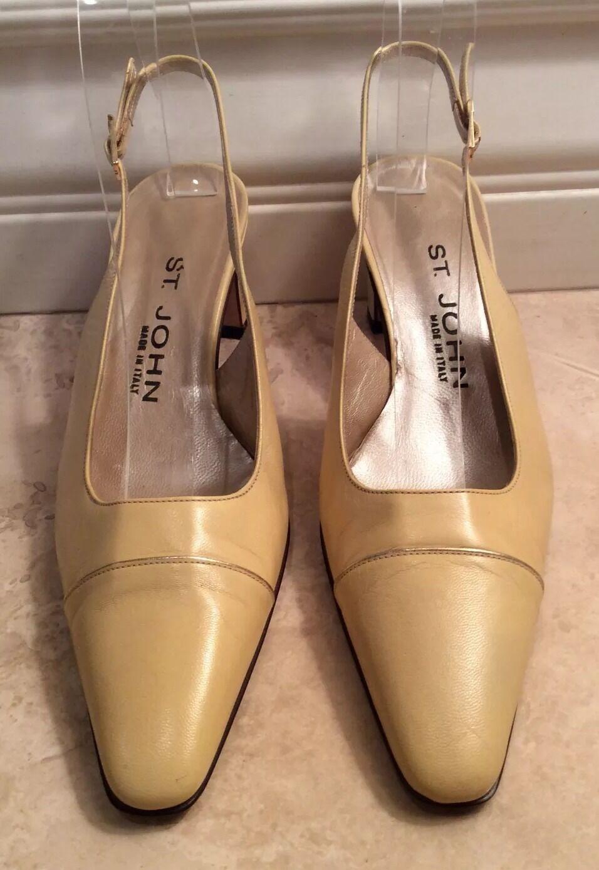 economico online ST. JOHN JOHN JOHN Cream giallo Leather Classic Low Heel Cap Toe Slingback Pump Heels 6B  vendita scontata online di factory outlet