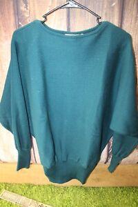 Cassidy-Medium-Acrylic-Wool-Dark-Teal-Vintage-Women-039-s-Sweater