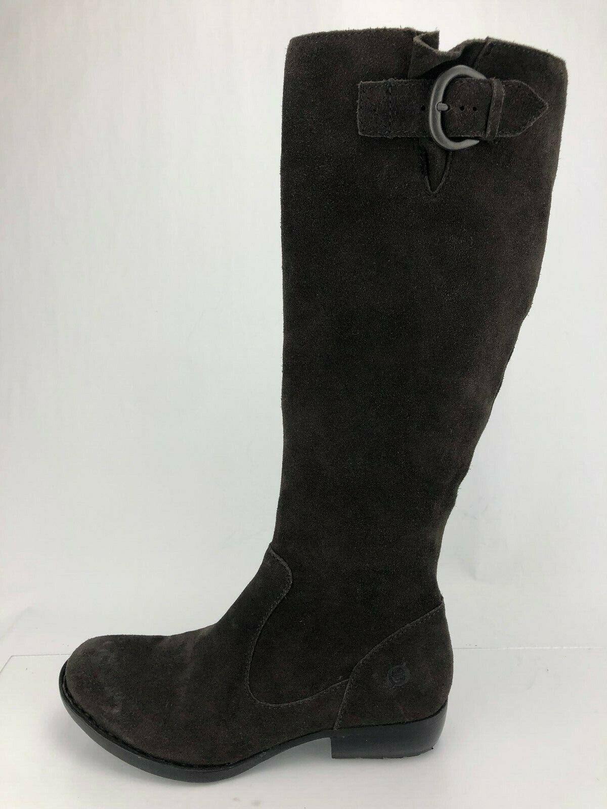 Nacido la Rodilla botas Altas Cremallera Gamuza Marrón Zapatos de montar a caballo de la Hebilla Ajustable para Mujer 6.5 M