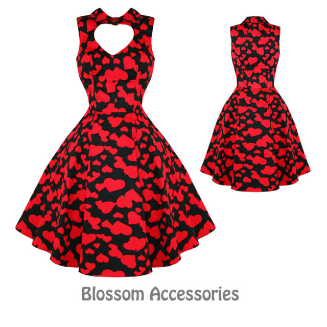 RKH5 Hearts & Roses Red Heart Valentines Vintage 50s Party Prom Rockabilly Dress