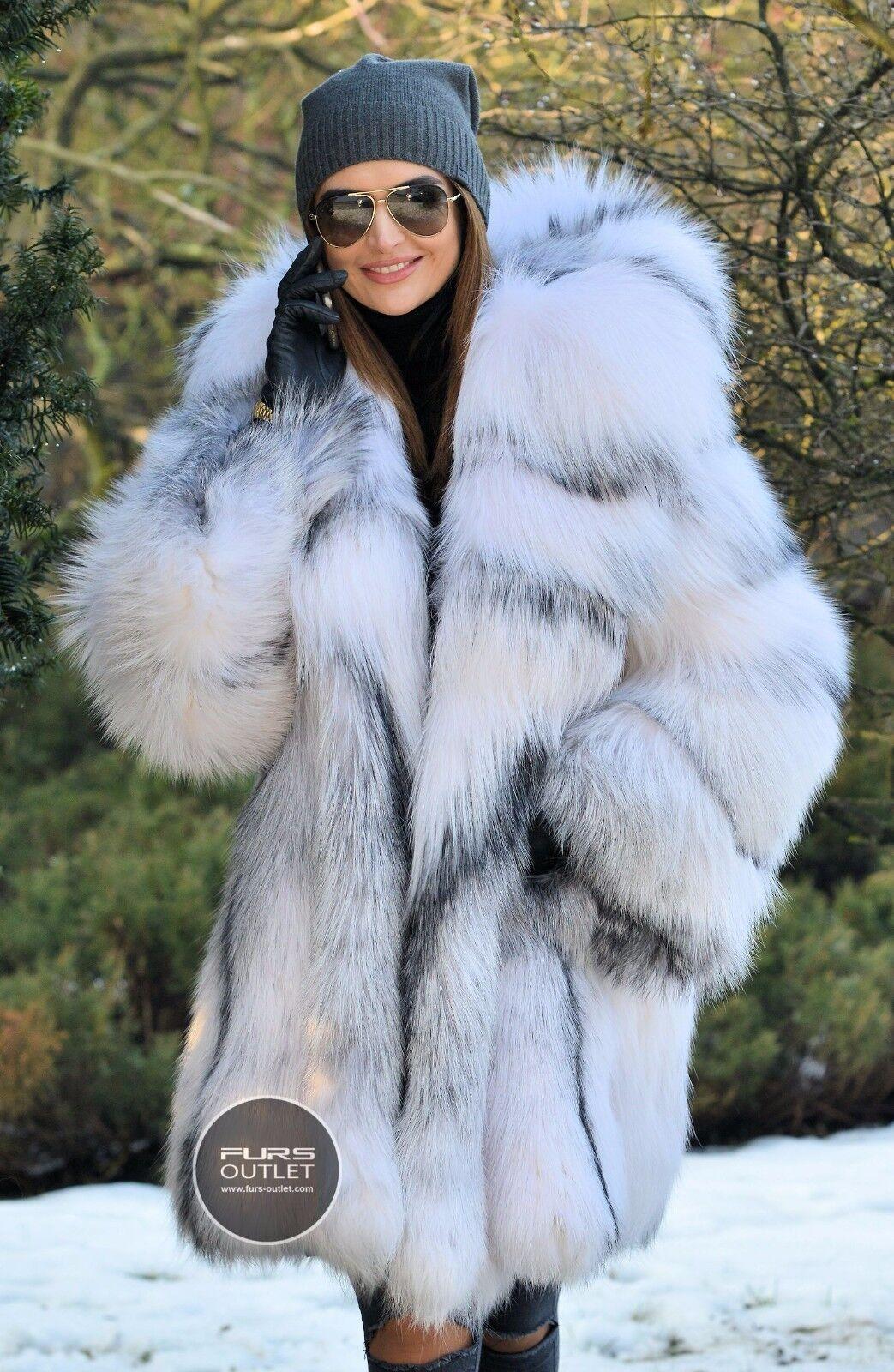 2017 Arctic Fox Fur Coat Hood Clas Chinchilla Sable Mink