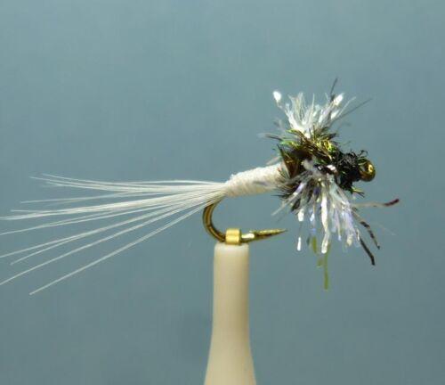 PN841 White 12 Artflies Flash Fiber Wing Trico Spinner #16-18-20,