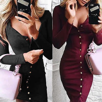 Women Bandage Bodycon Long Sleeve Evening Sexy Party SlimFit Cocktail Mini Dress