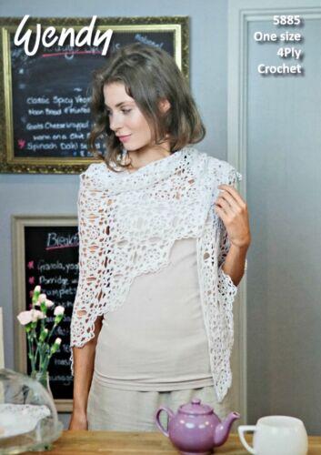 CROCHET PATTERN Ladies Motif Shawl//Wrap Cotton 4ply Wendy 5885