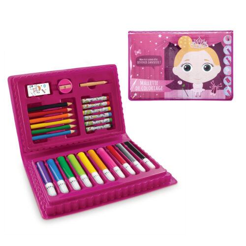 Mallette de coloriage Rose 25 pcs   Coffret Feutre Crayon Pastel   Taille  Gomme