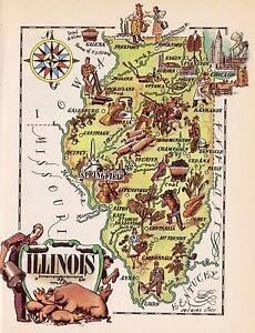 Details about 1950s Antique ILLINOIS State Map Vintage Cartoon Map on illinois map fun, illinois rt 66 map, illinois map 3d, illinois map western, illinois map book, illinois map outline, illinois map logo, illinois postcard, illinois map funny, illinois usa, illinois map crime, illinois map coloring page, illinois map joke, illinois map drawing, illinois on america, illinois black and white clip art, illinois map black, illinois map vintage, midwest cartoon, illinois map painting,
