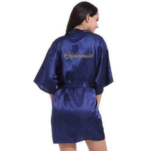 Details about  /Women Wedding Robe Satin//silk robe Bridesmaid Bride maid of honor Dressing Gown
