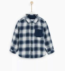 4bf9e11d6 NWT ZARA BABY BOYS TODDLER CHECKED PLAID BUTTON SHIRT BLUE WHITE 18 ...