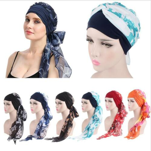 Turban Pre-Tied Boho Bandana Women Beach Long Head Wrap Scarf Cap Hair Accessori