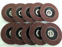 "10 PACK x 60 GRIT FLAP DISC 115mm 4 1/2"" SANDING DISC FOR ANGLE GRINDER 4.5"""
