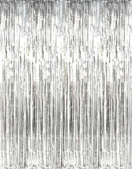 Foil Metallic Fringe Tinsel Curtain Silver Backdrop Door Party Decorations Decor