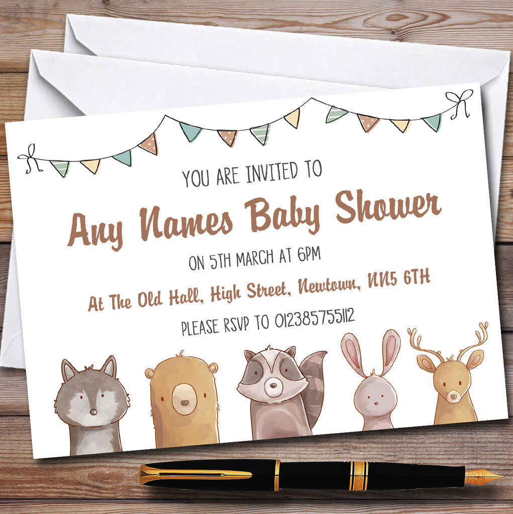 Bosque Woodland Animales Invitaciones Baby Shower Invitaciones