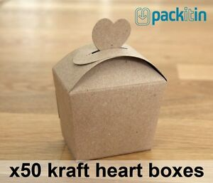 x50-qty-KRAFT-HEART-GIFT-BOXES-wedding-bomboniere-party-favours-baby-shower