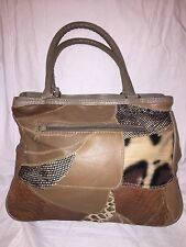 Genuine Leather Dr Bag Satchel Leopard Print Patchwork Leather Bag MINT Cond.