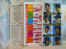 Rare 1970 Minnesota Twins Schedule With Four Autographs And Eight Pictures