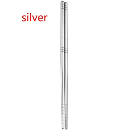 1Pair Kitchen Stainless Steel Tableware Chinese Chopsticks Rainbow Dinnerware HQ