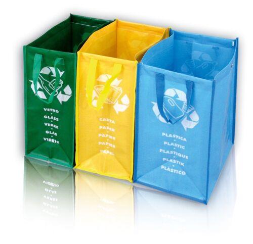 Mülltrenner 3-fach Mülltrennsystem Recycling Glas Plastik Papier aus Polygewebe
