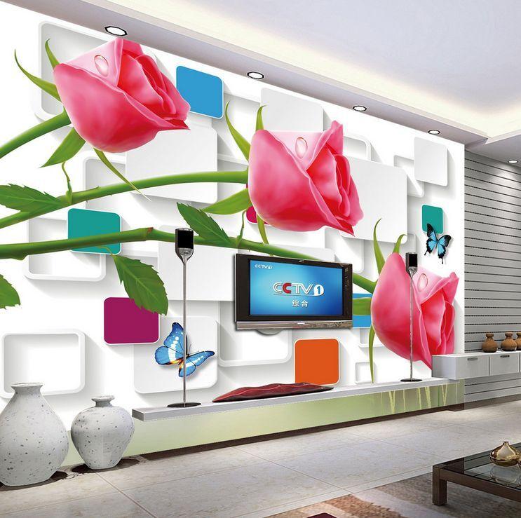 3D fiore luminoso Parete Murale Foto Carta da parati immagine sfondo muro stampa
