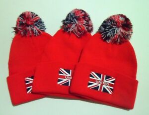 Image is loading Manchester-United-FC-Bobble-Hats-Man-Utd-Memorabilia- 18c8520f5ca