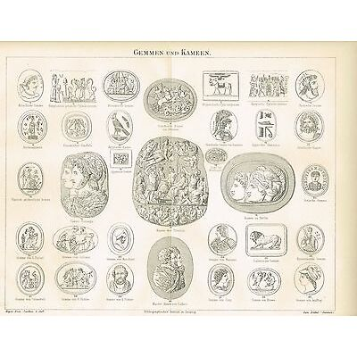 Tafel GEMMEN / KAMEEN 1889 Original-Holzstich