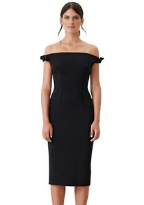 By-Johnny-Black-Dress-Bare-Off-The-Shoulder-Bow-Tie-Cocktail-Pencil-Zip-Crepe