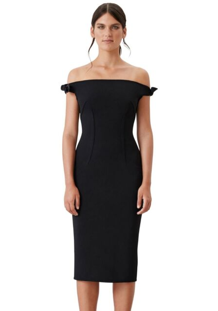 By Johnny Black Dress Bare Off The Shoulder Bow Tie Cocktail Pencil Zip Crepe