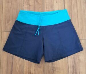 7a86f6daa7a85 LULULEMON Speed Run Shorts WOMENS SZ 8 Wet Dry Warm Navy Blue   eBay