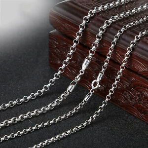 Pure-S925-Sterling-Silver-Chain-Men-Women-Fashion-Circle-Cable-Link-Necklace