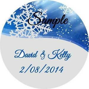 120 Personalized Custom Blue Snowflake Winter Wedding Stickers Envelope Seals