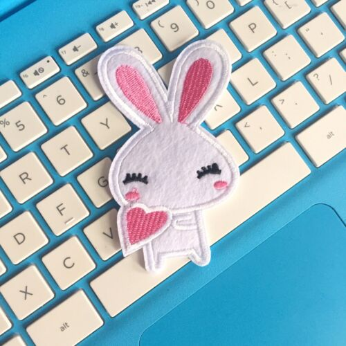 Kawaii White Rabbit Bunny Heart Embroidered Patch Iron On Appliqué