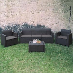 Set da giardino resina colore antracite poltrone divano con cuscini e tavolino ebay - Divano in resina da esterno ...