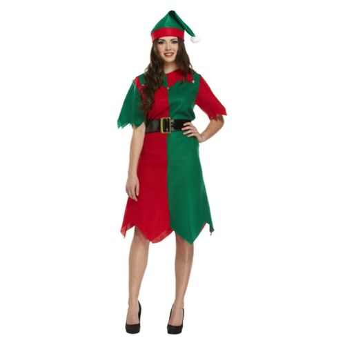 Adult Female Elf Fancy Dress Up Christmas Costume Outfit Xmas Party Brand New