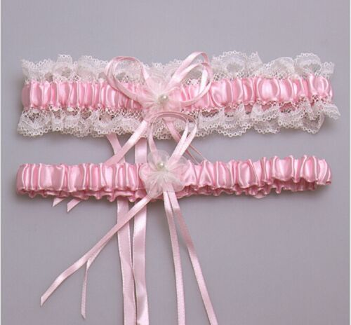 Satin Lace One Size Wedding Bridal Garter Set with Pearl and Bowknot-Colors