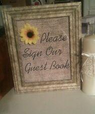 burlap wedding vintage sunflower  decor (sign our guestbook)