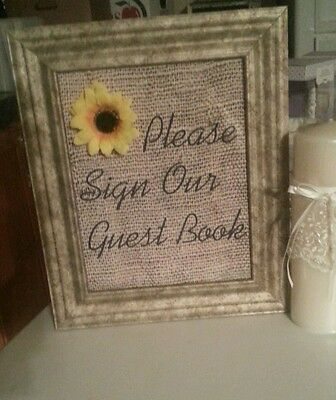 burlap wedding vintage sunflower  decor (sign our guestbook)