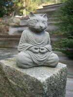 Concrete Buddha Cat Small Statuette, Cat Statue, Cement Cat Statues Garden Decor