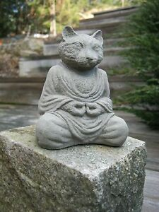 Image Is Loading Concrete Buddha Cat Small Statuette Cat Statue Cement