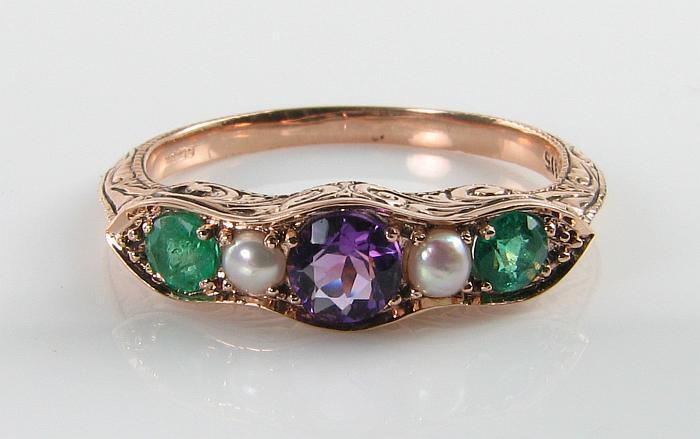 SUFFRAGETTE 9K 9CT rosa oro AMETISTA SMERALDO Pearl Pearl Pearl Eternity Anello Art Deco INS c47b58