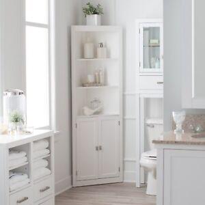 Details about Classic White Freestanding Bathroom Corner Storage Cabinet  Linen Storage Tower