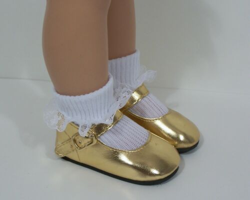 "Debs GOLD Metallic Doll Shoes Fits 18/"" Effanbee Katie Dolls"