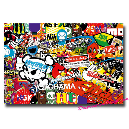 A4 Sheet Sticker Bomb Vinyl Wrap Car Bike Scooter Laptop Skate Cool Kids #0092