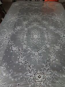 Vtg-Antique-French-Tambour-Large-Lace-Cotton-Net-Embroidered-Bedspread