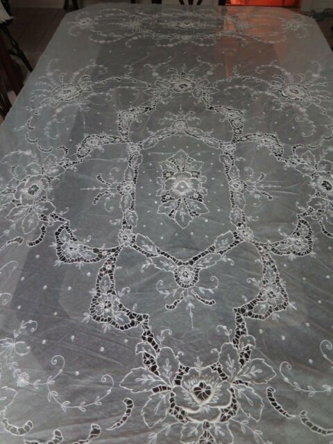 Vtg Antique French Tambour Large Lace Cotton Net Embroidered Bedspread